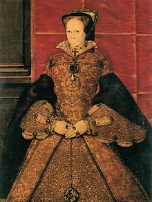 Mary Tudor early in her brief reign 1553-1558 - note the famous pearl.