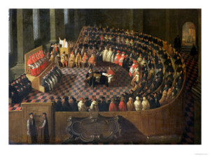 First Session of the Council of Trent. The assembled bishops after voting in the First Chapter. Trent was a compromise site, chosen as it was in the lands of the Emperor but also within Papal jurisdictions in Italy.