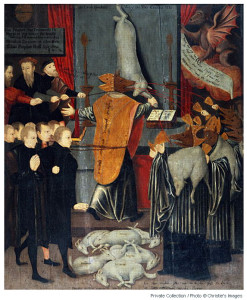 A vivid allegory of Gardiner  as the wolf dressed as the lamb beguiling the flock of God