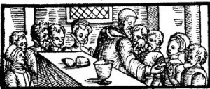 Holy Communion as imagined by Reformed liturgists - a table with bread and a cup