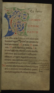 Manuscript of the first page of the Roman Canon - Te igitur clementissime Pater....