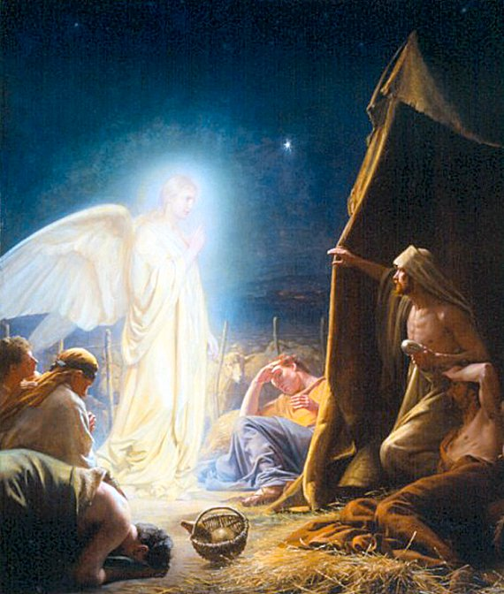 A very traditional picture of the Shepherds and the angel