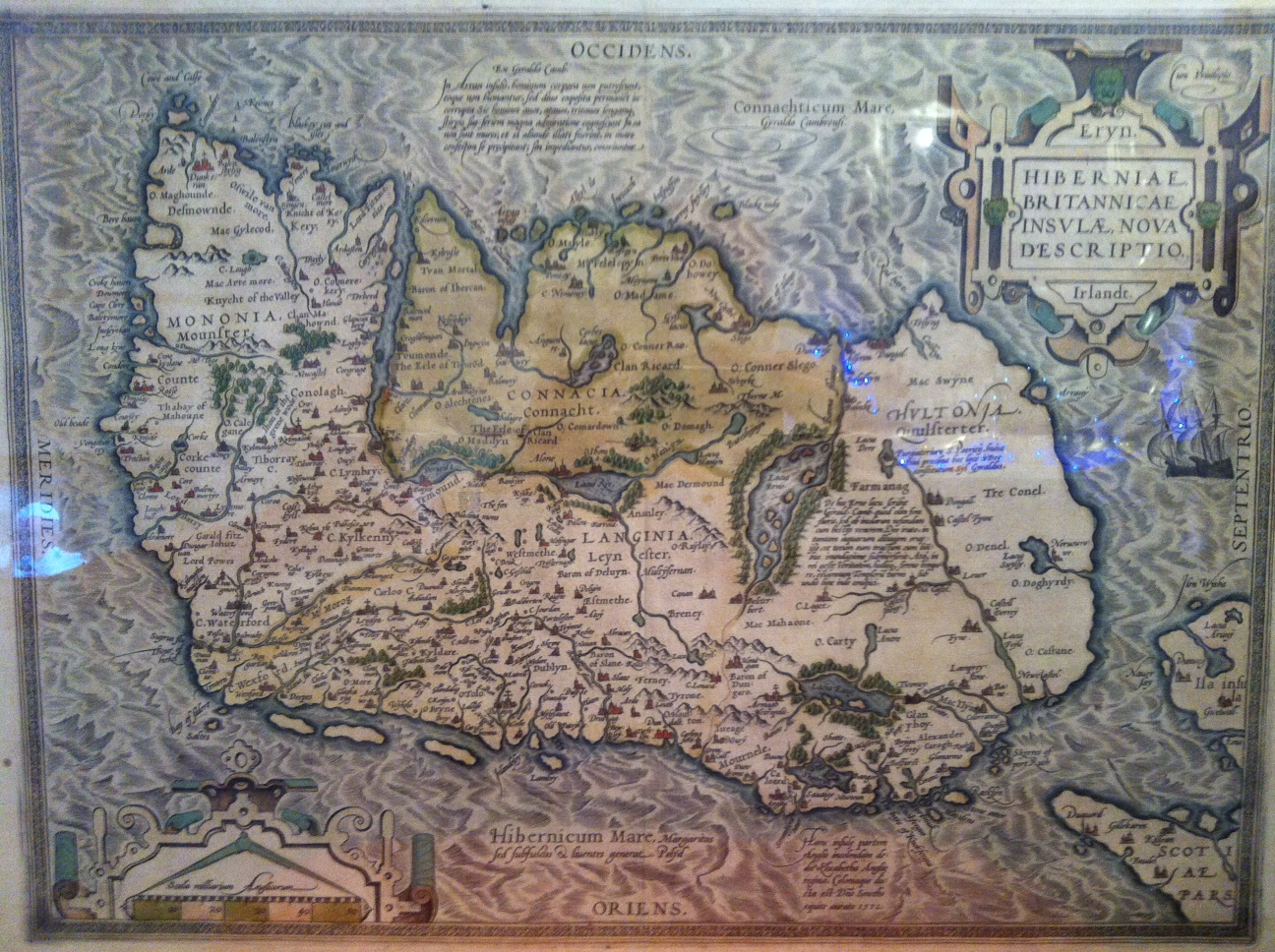 Ireland -  or Erin - a map in the sixteenth century of a land of Saints, Scholars & strangers