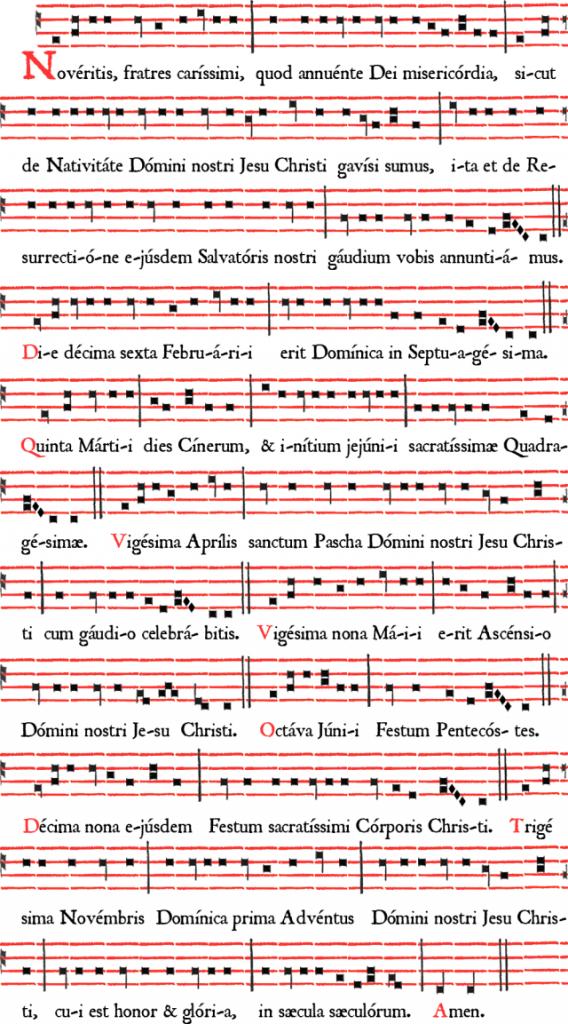 Noveritis-Romanum-2104Roman  Roman Rite chant announcing Easter 2014